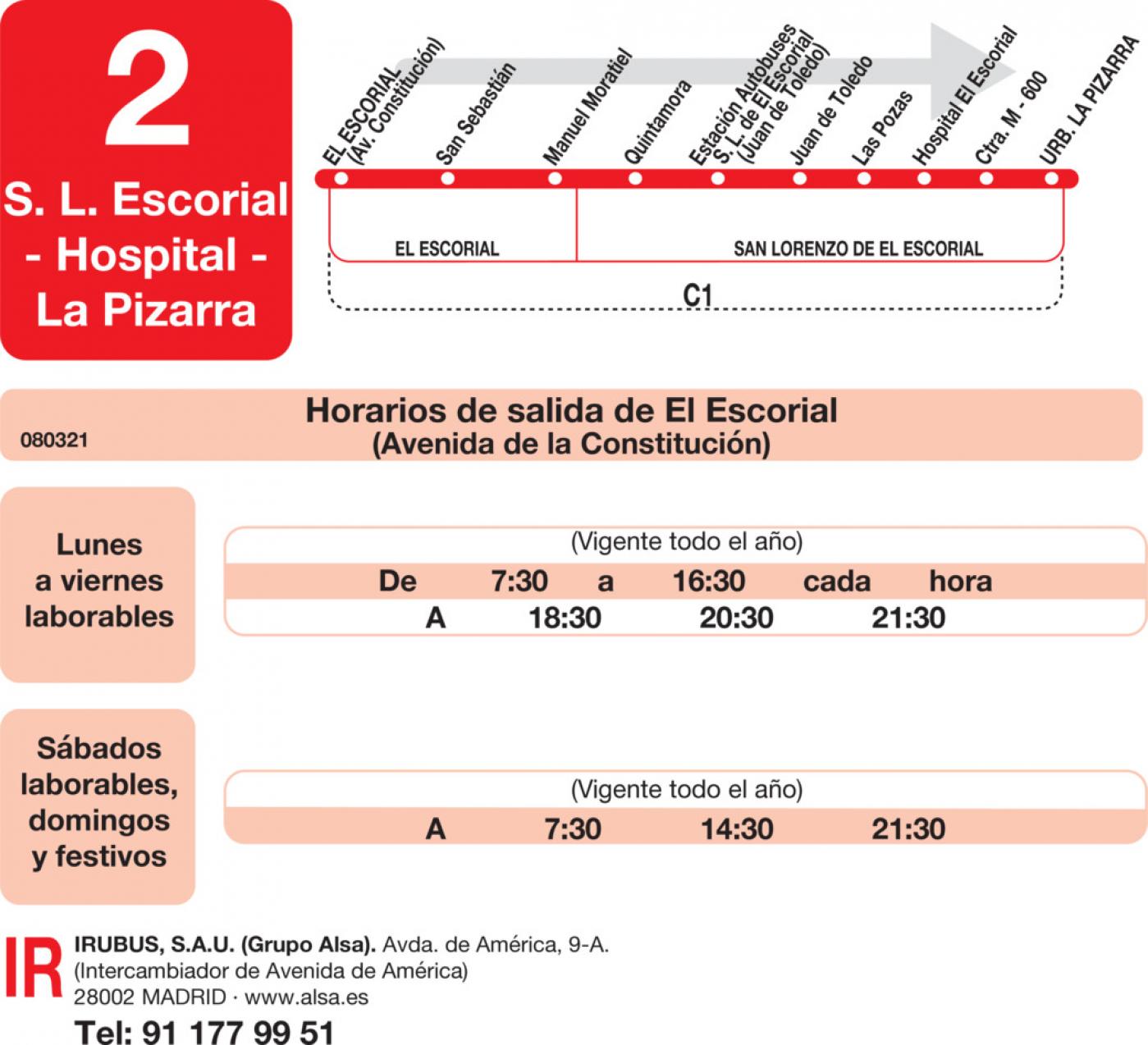Tabla de horarios y frecuencias de paso en sentido ida Línea L-2 El Escorial: El Escorial - San Lorenzo de El Escorial - Hospital - La Pizarra