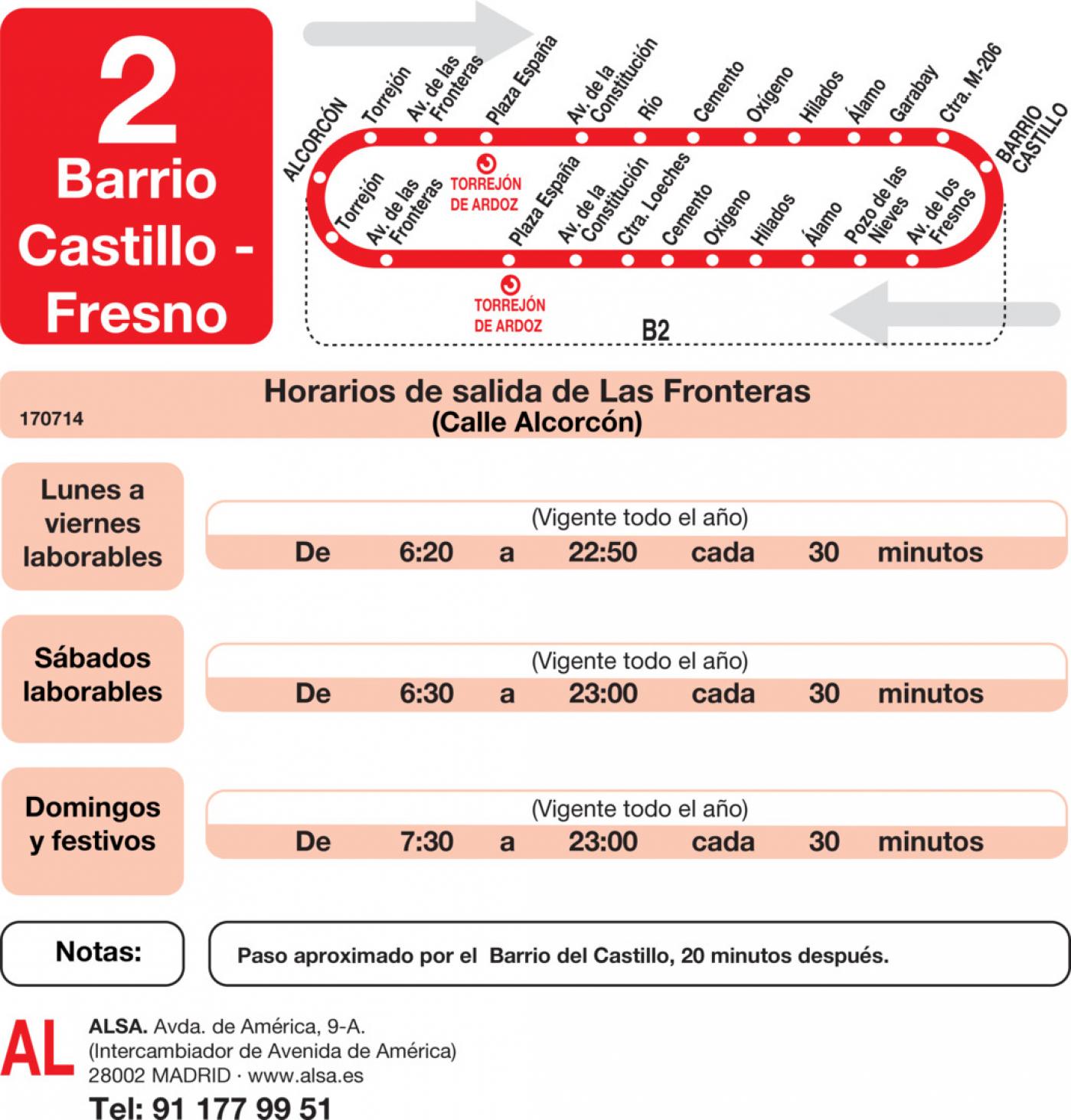 Tabla de horarios y frecuencias de paso en sentido ida Línea L-2 Torrejón de Ardoz: Fronteras - Barrio del Castillo - Fresno