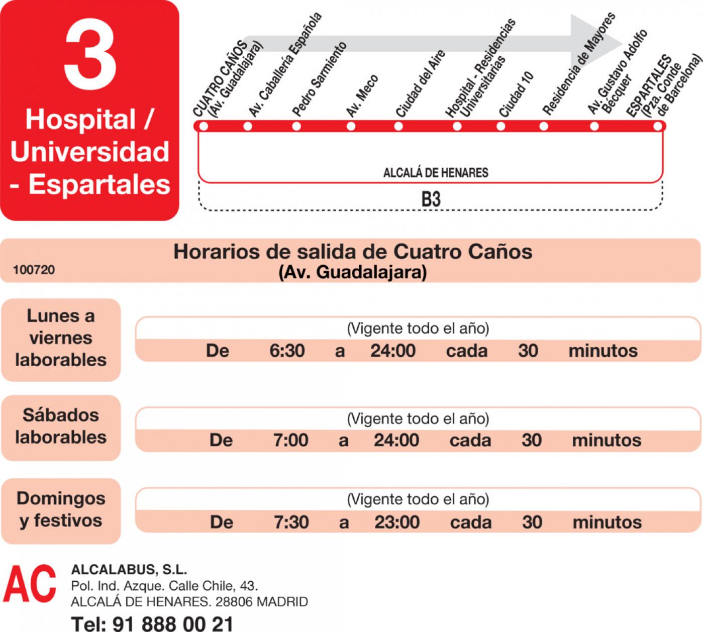 Tabla de horarios y frecuencias de paso en sentido ida Línea L-3 Alcalá de Henares: Plaza Cervantes - Espartales