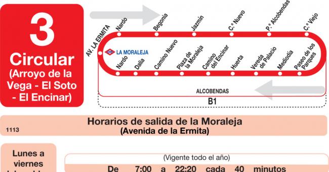 Horarios de autobús L-3 de Alcobendas