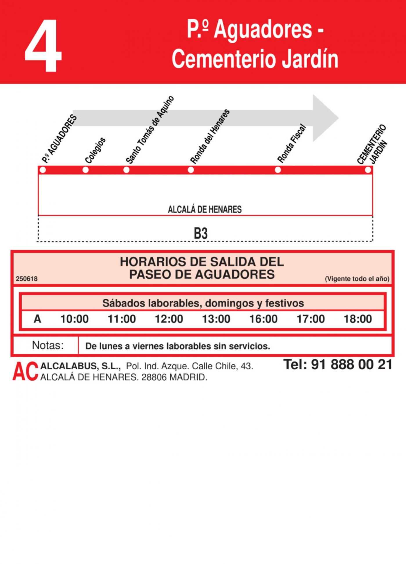 Tabla de horarios y frecuencias de paso en sentido ida Línea L-4 Alcalá de Henares: Plaza Cervantes - Cementerio Jardín