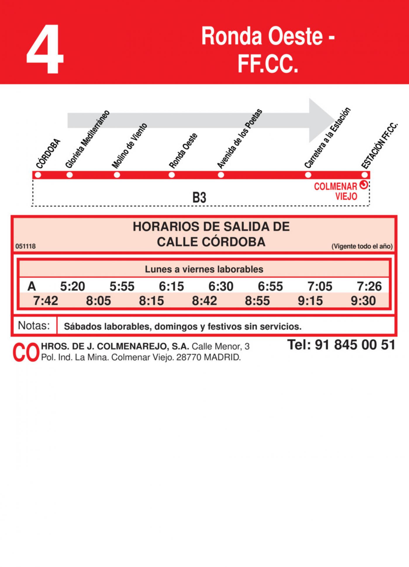 Tabla de horarios y frecuencias de paso en sentido ida Línea L-4 Colmenar Viejo: Ronda Oeste - Estación Cercanías RENFE