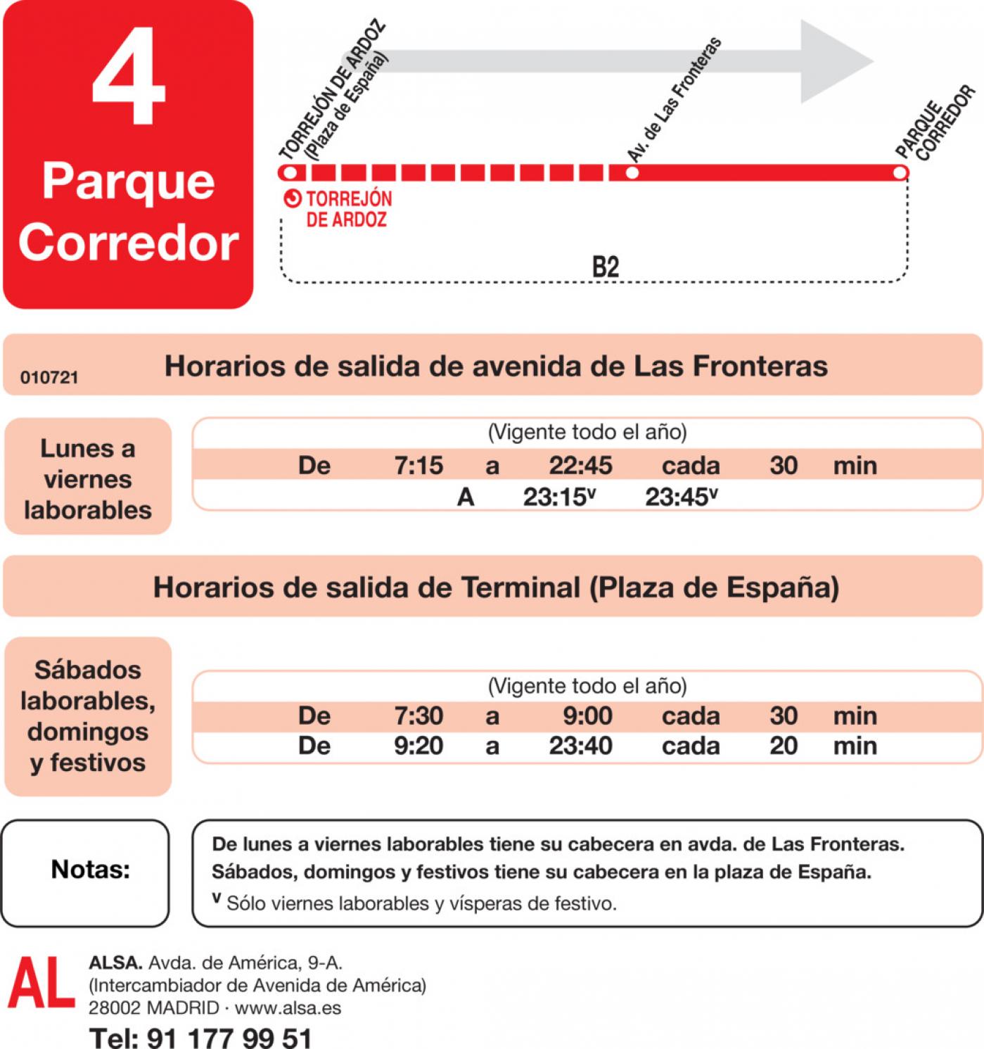Tabla de horarios y frecuencias de paso en sentido ida Línea L-4 Torrejón de Ardoz: Torrejón - Parque Corredor