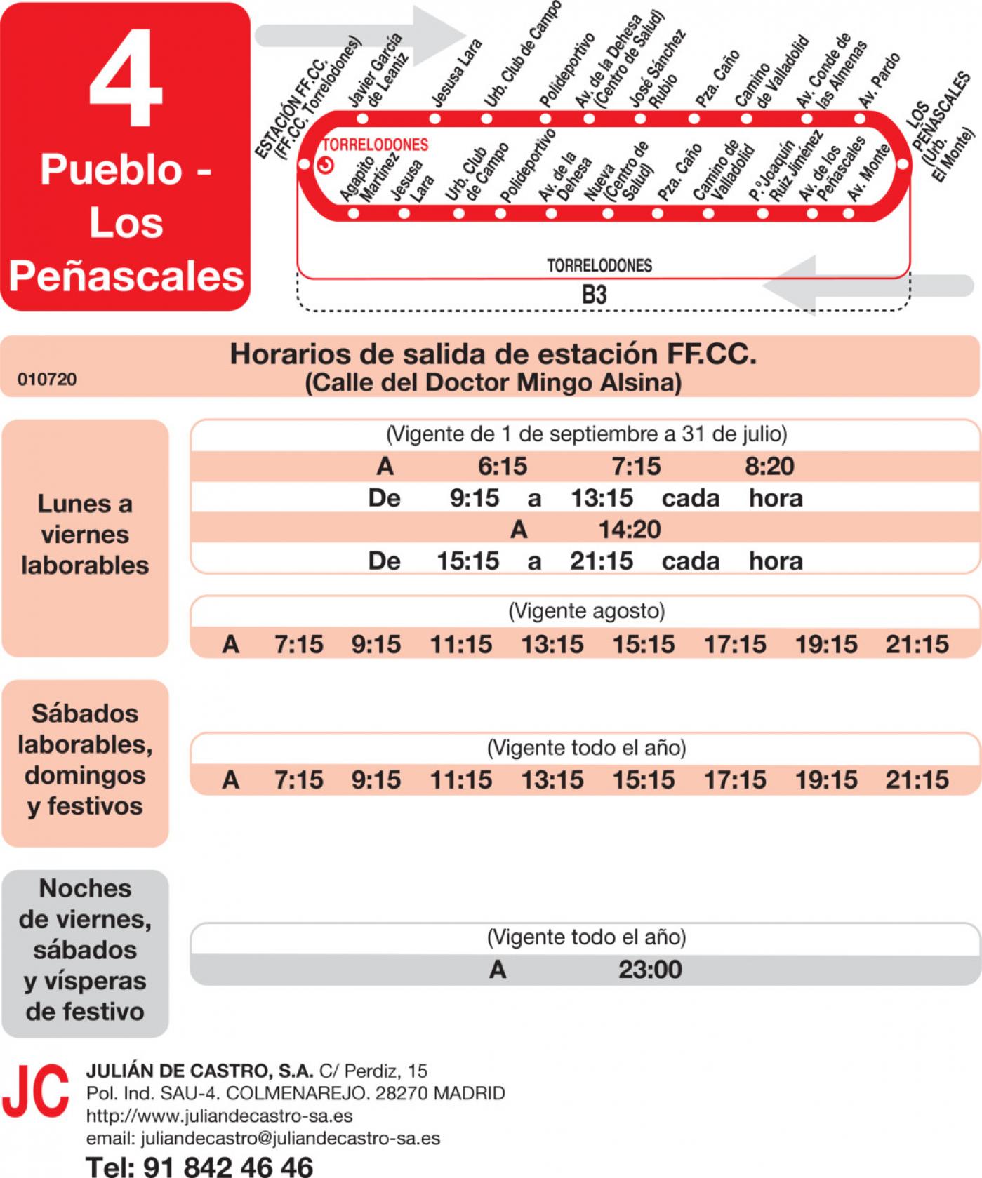Tabla de horarios y frecuencias de paso en sentido ida Línea L-4 Torrelodones: Estación Cercanías RENFE - Colonia - Pueblo - Los Peñascales