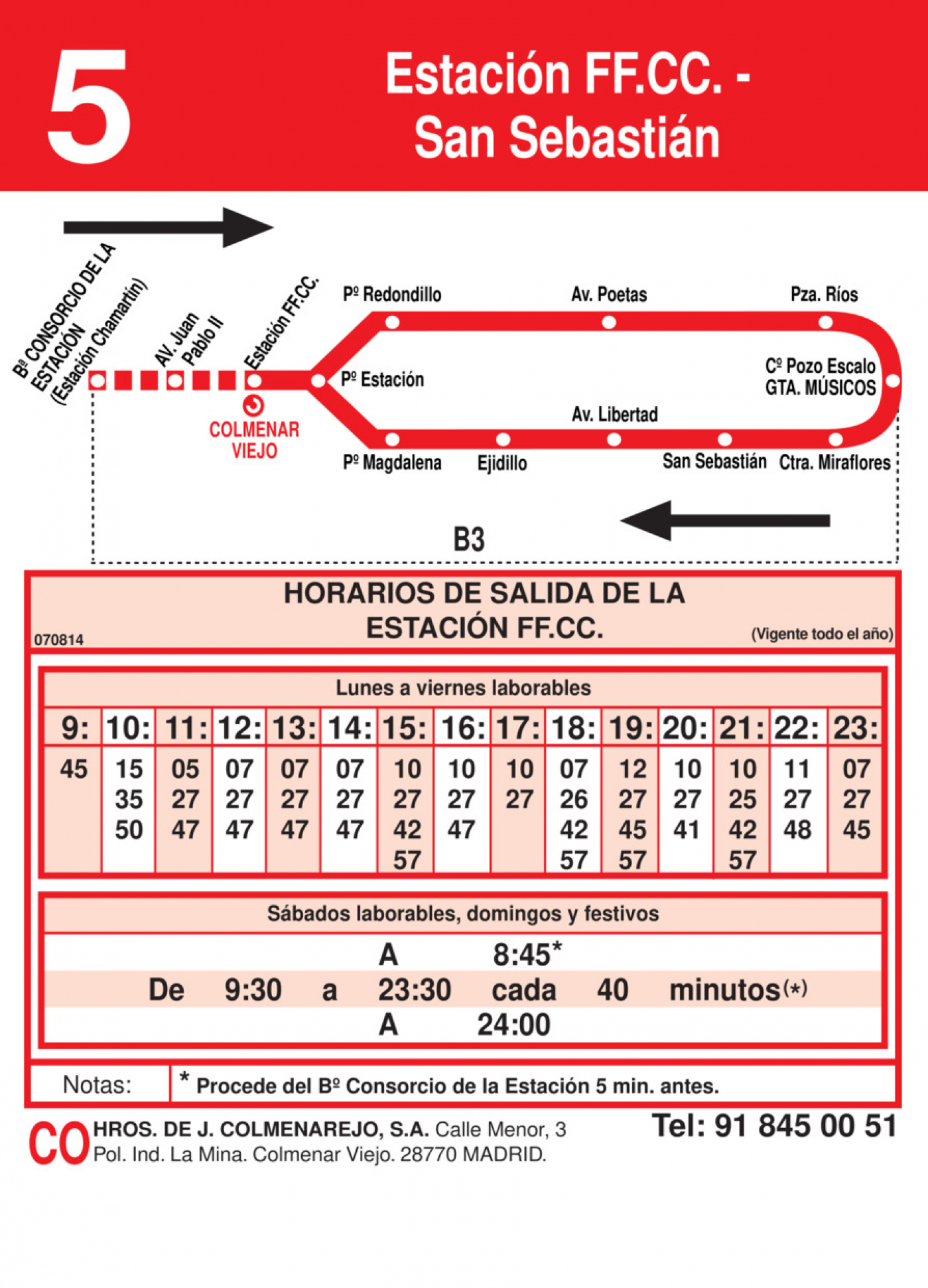 Tabla de horarios y frecuencias de paso en sentido ida Línea L-5 Colmenar Viejo: Estación Cercanías RENFE - San Sebastián