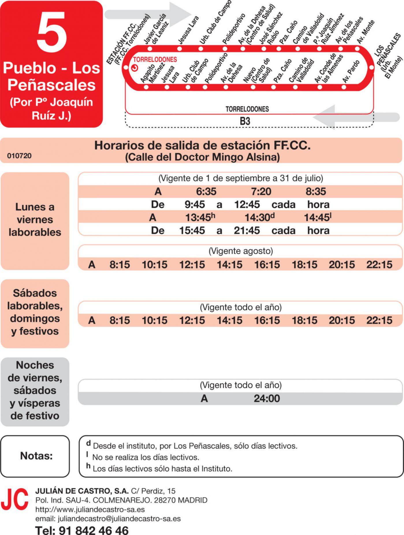 Tabla de horarios y frecuencias de paso en sentido ida Línea L-5 Torrelodones: Circular - Área Homogénea Sur - Los Peñascales