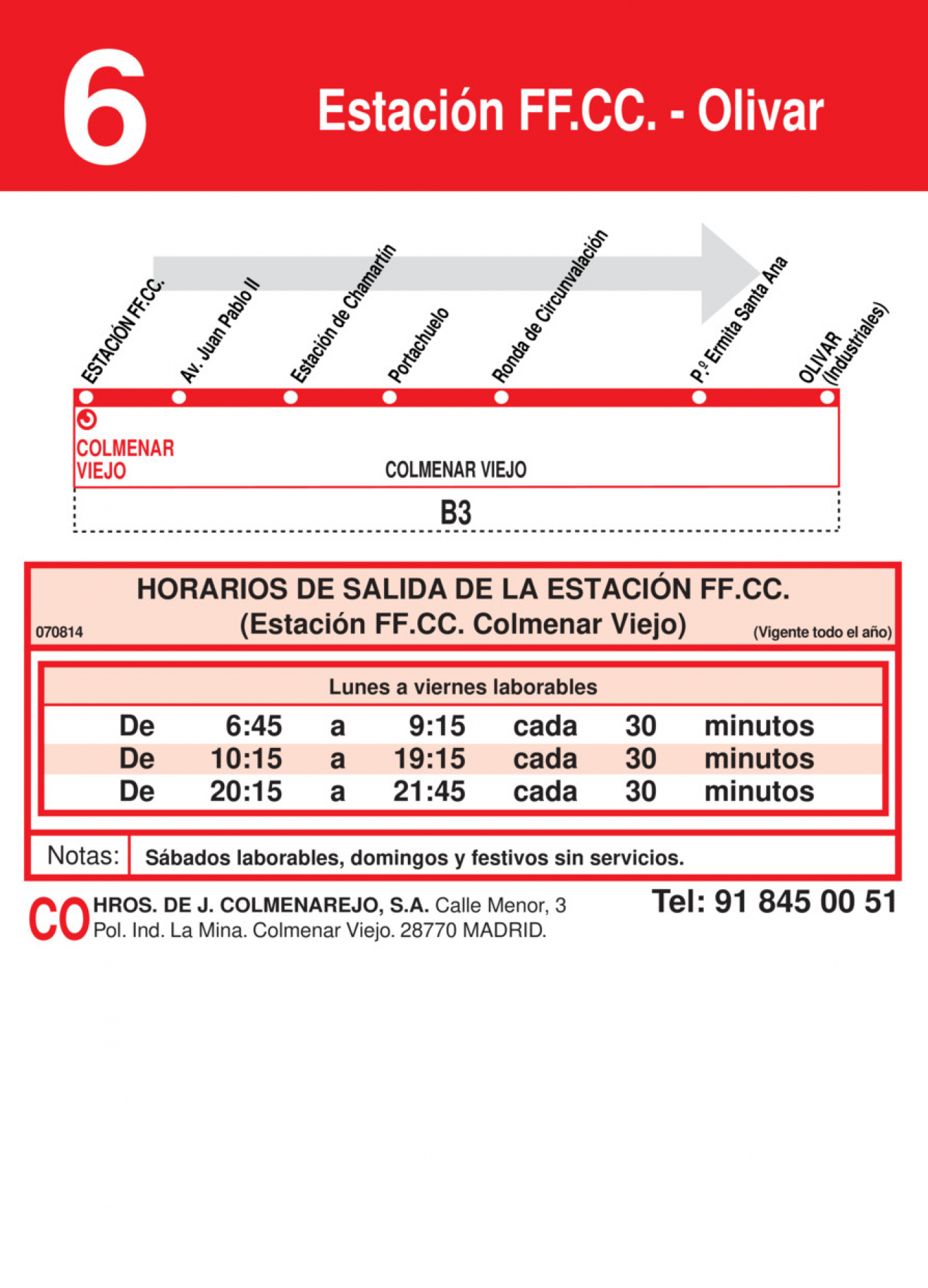Tabla de horarios y frecuencias de paso en sentido ida Línea L-6 Colmenar Viejo: Estación Cercanías RENFE - Olivar