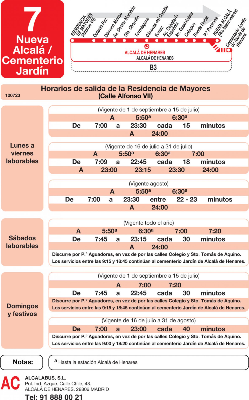 Tabla de horarios y frecuencias de paso en sentido ida Línea L-7 Alcalá de Henares: El Ensanche - Nueva Alcalá