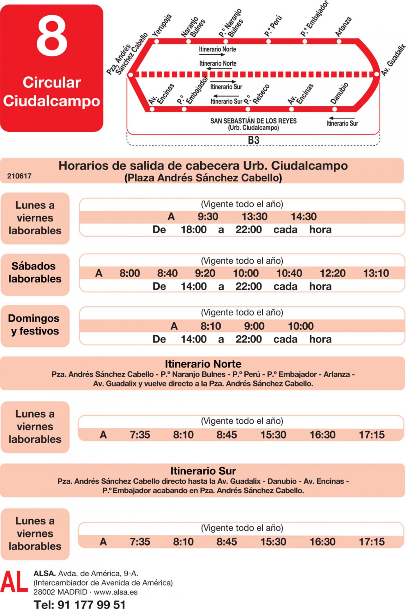 Tabla de horarios y frecuencias de paso en sentido ida Línea L-8 Ciudalcampo: Circular Ciudalcampo