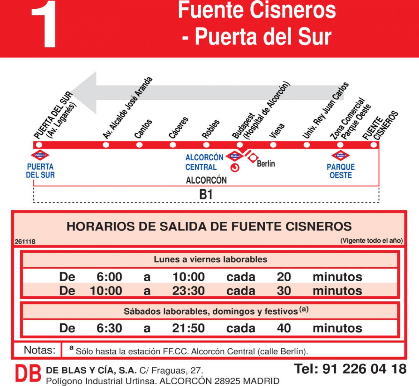 Tabla de horarios y frecuencias de paso en sentido vuelta Línea L-1 Alcorcón: Polvoranca - Fuente Cisneros