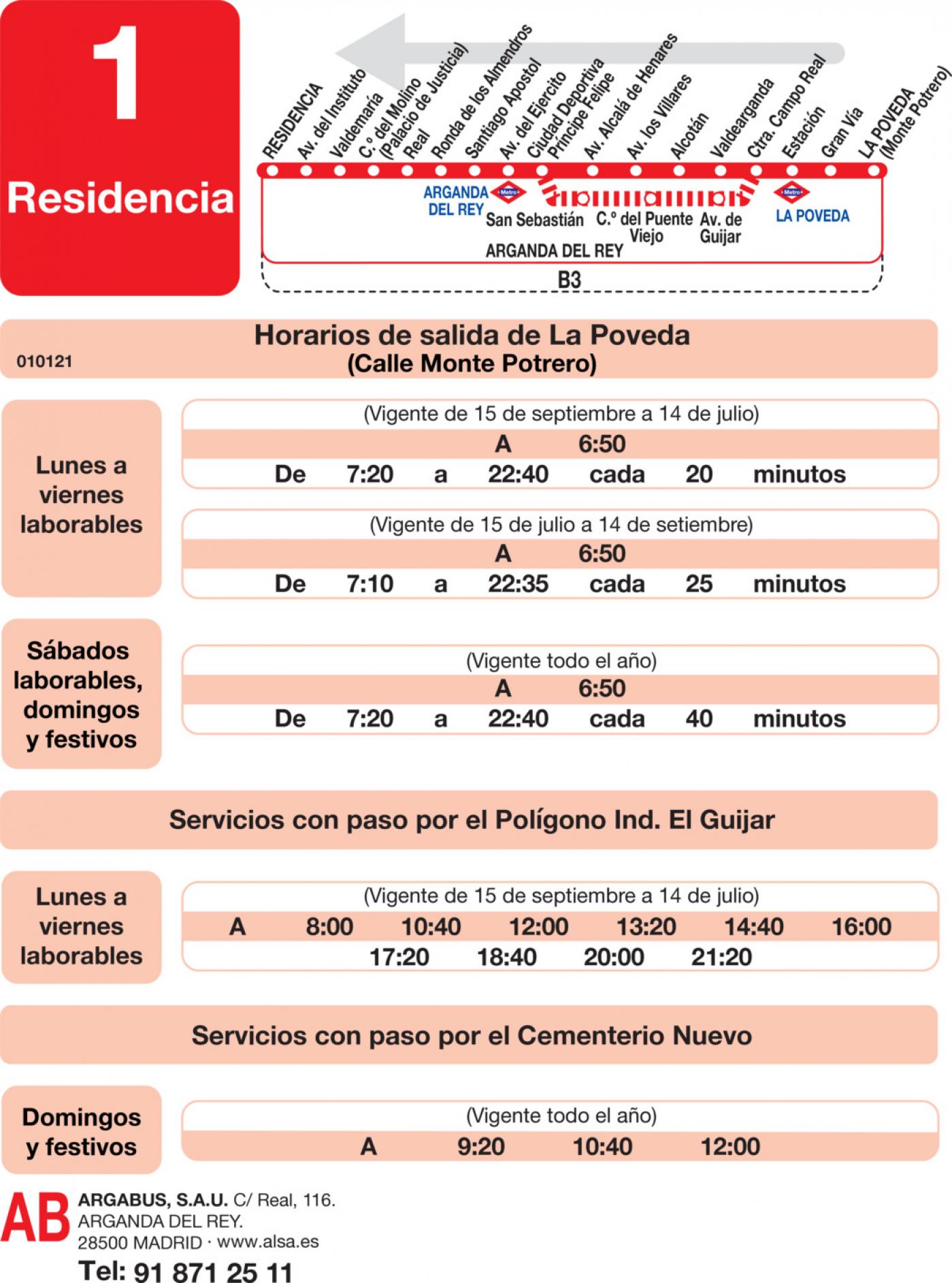 Tabla de horarios y frecuencias de paso en sentido vuelta Línea L-1 Arganda del Rey: Residencia - La Poveda