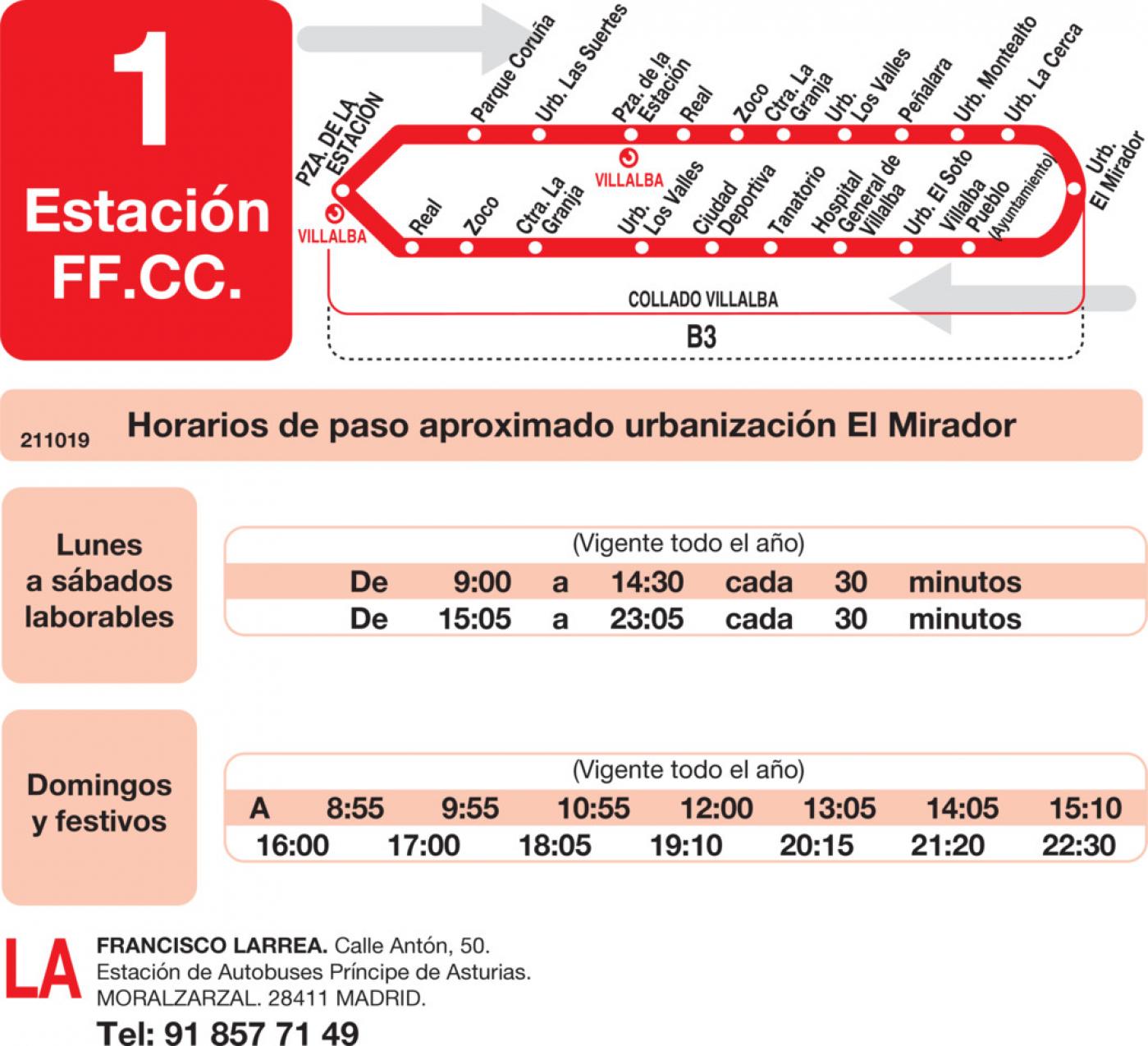 Tabla de horarios y frecuencias de paso en sentido vuelta Línea L-1 Collado-Villalba: Estación Cercanías RENFE - Paseo de La Coruña - Pueblo - Los Valles