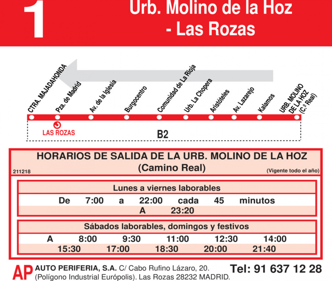 Tabla de horarios y frecuencias de paso en sentido vuelta Línea L-1 Las Rozas: Las Rozas - Urbanización Molino de la Hoz
