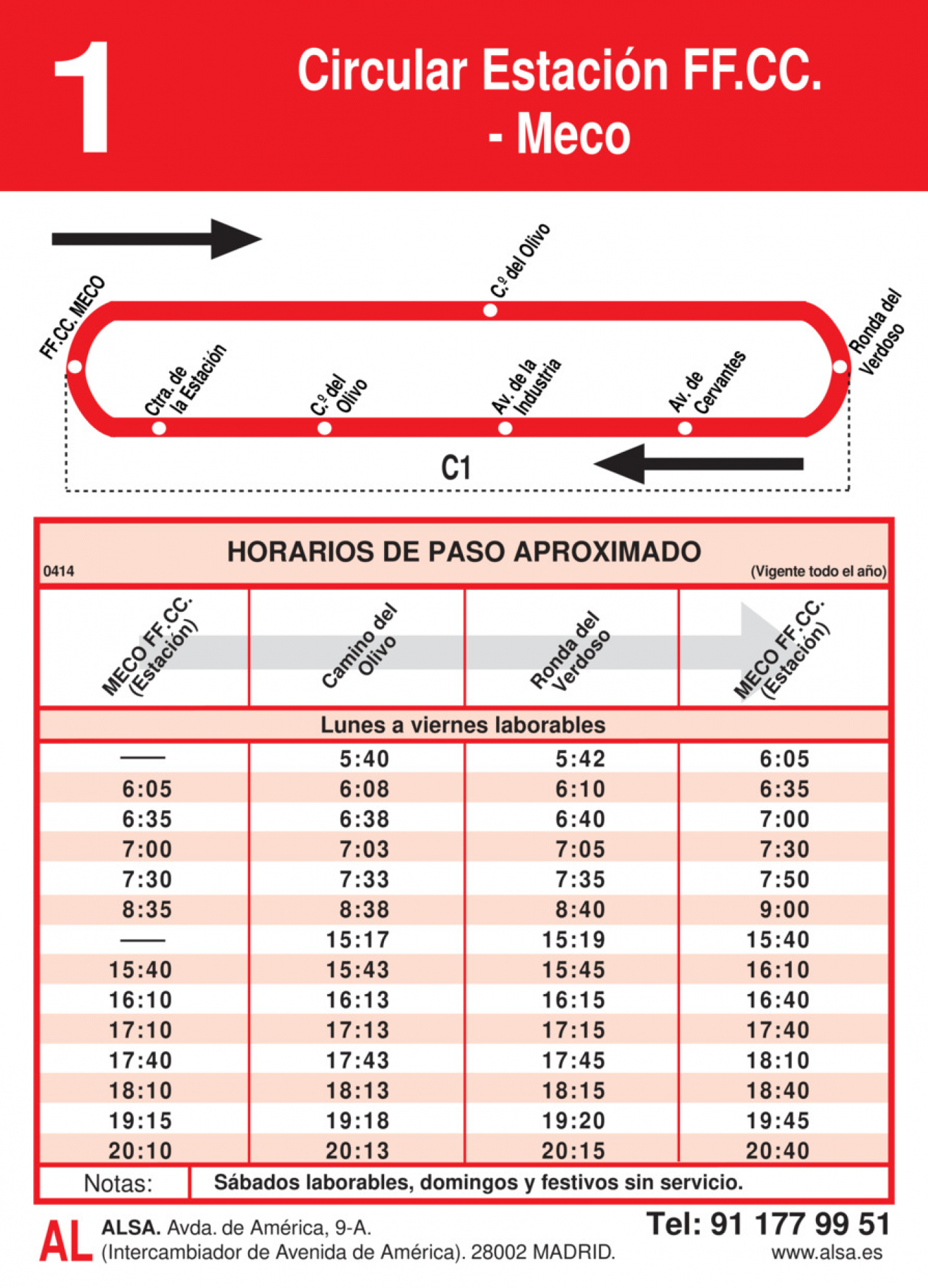 Tabla de horarios y frecuencias de paso en sentido vuelta Línea L-1 Meco: Estación Cercanías RENFE - Meco
