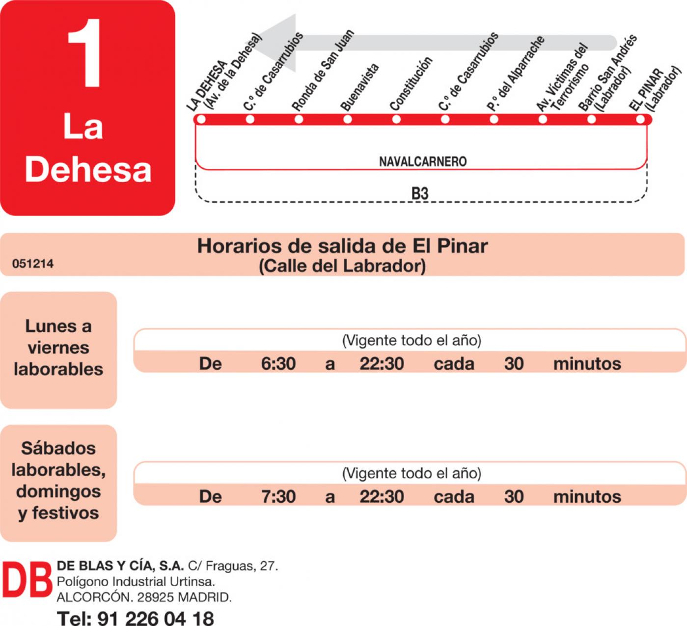 Tabla de horarios y frecuencias de paso en sentido vuelta Línea L-1 Navalcarnero: La Dehesa - El Pinar