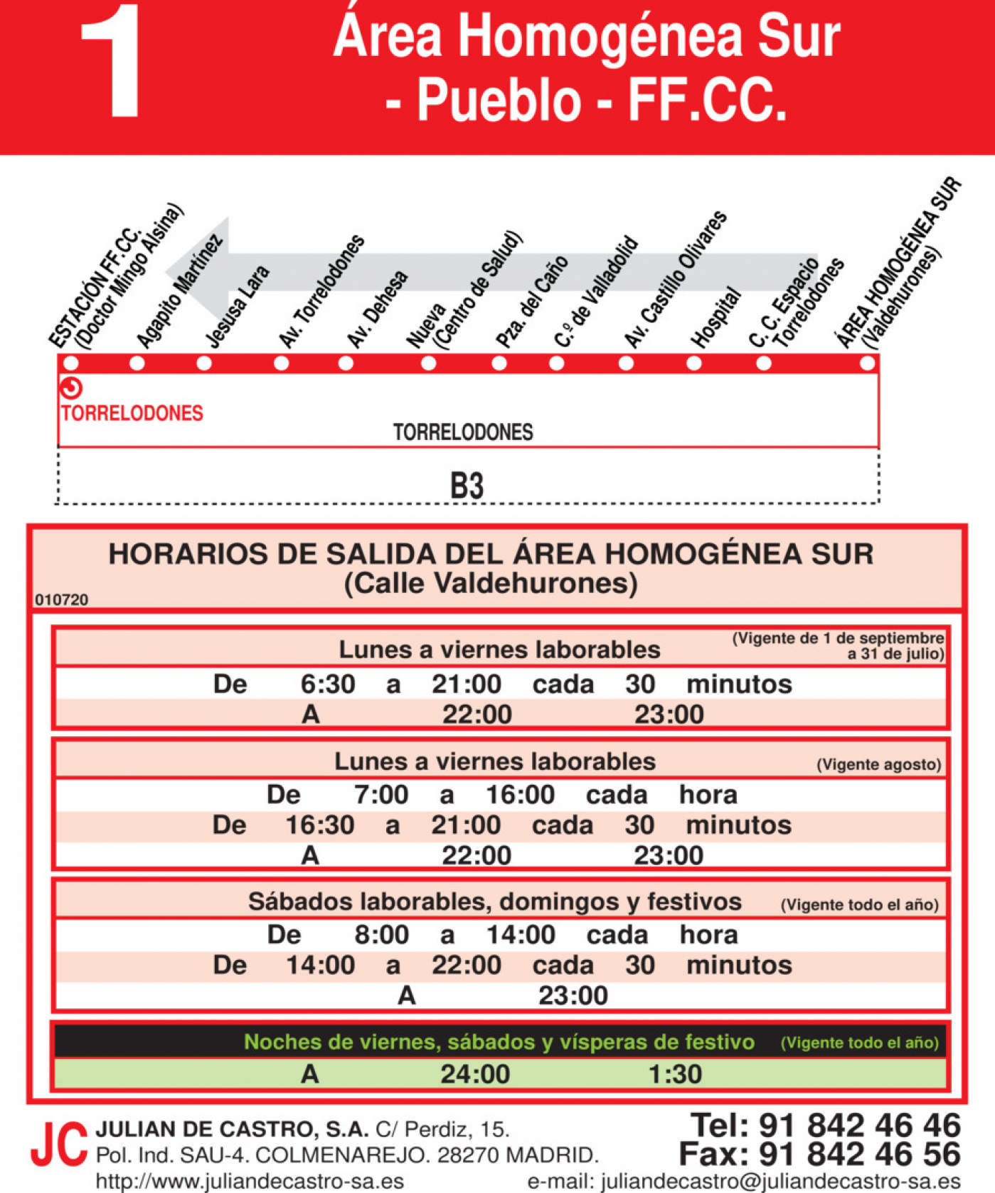 Tabla de horarios y frecuencias de paso en sentido vuelta Línea L-1 Torrelodones: Estación Cercanías RENFE - Colonia - Pueblo - Área Homogénea Sur