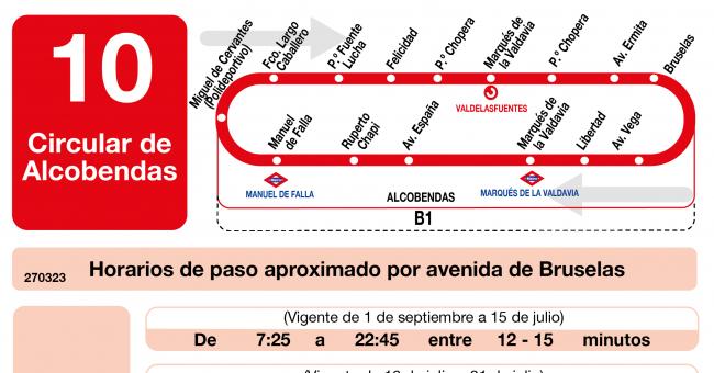 Horarios de autob s l 10 de alcobendas for Horario renfe alcobendas