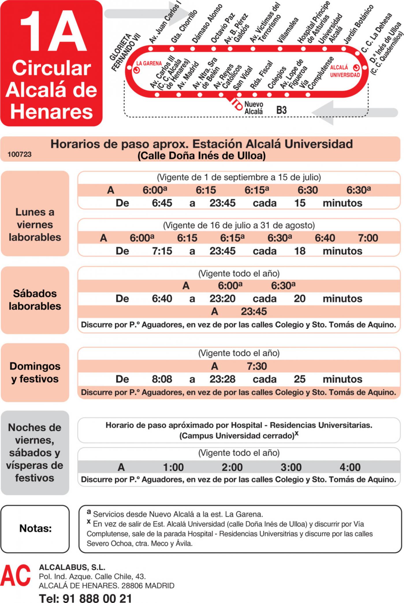 Tabla de horarios y frecuencias de paso en sentido vuelta Línea L-1A Alcalá de Henares: Circular