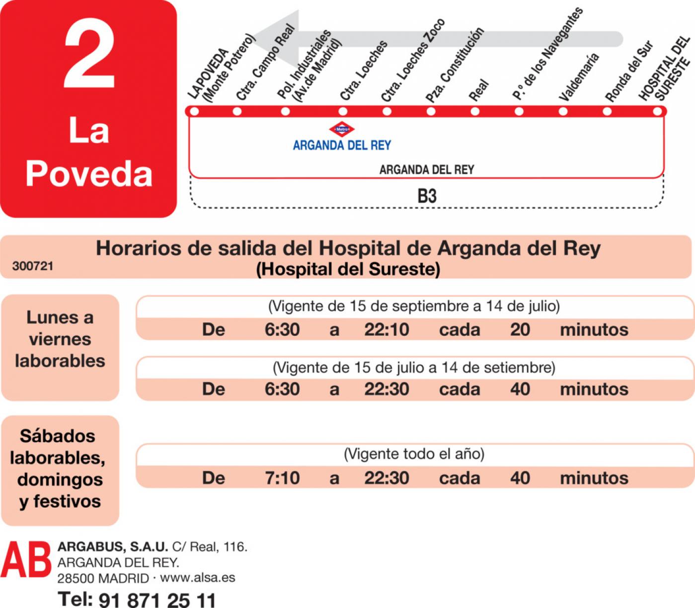 Tabla de horarios y frecuencias de paso en sentido vuelta Línea L-2 Arganda del Rey: La Poveda - Siete Vientos - Hospital