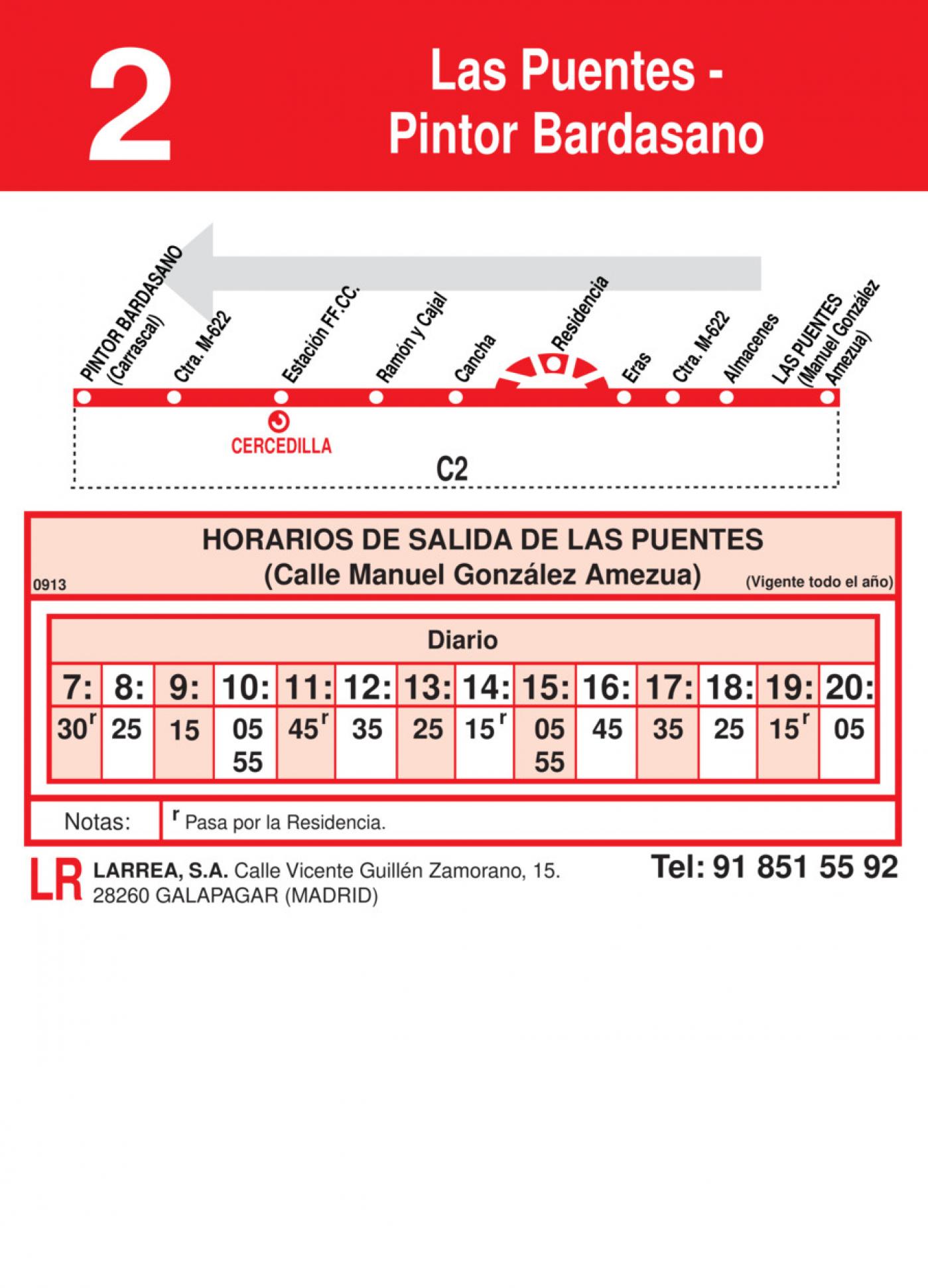 Tabla de horarios y frecuencias de paso en sentido vuelta Línea L-2 Cercedilla: Pintor Bardasano - Las Puentes