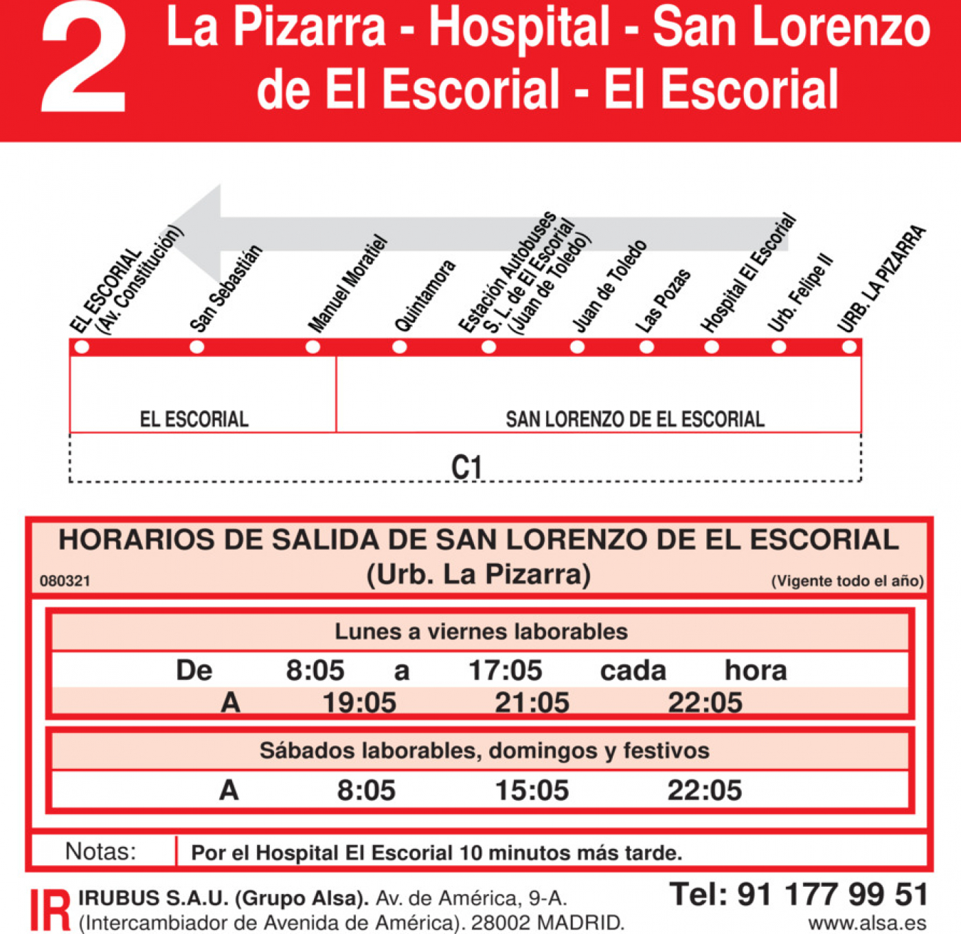 Tabla de horarios y frecuencias de paso en sentido vuelta Línea L-2 El Escorial: El Escorial - San Lorenzo de El Escorial - Hospital - La Pizarra