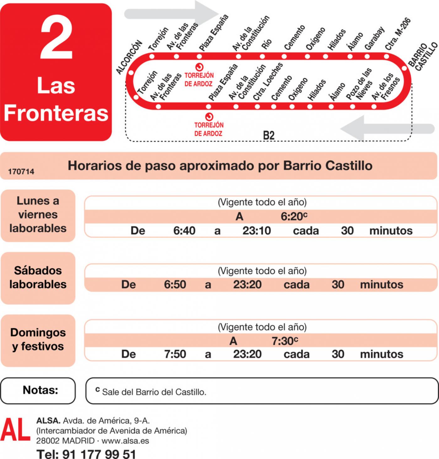 Tabla de horarios y frecuencias de paso en sentido vuelta Línea L-2 Torrejón de Ardoz: Fronteras - Barrio del Castillo - Fresno