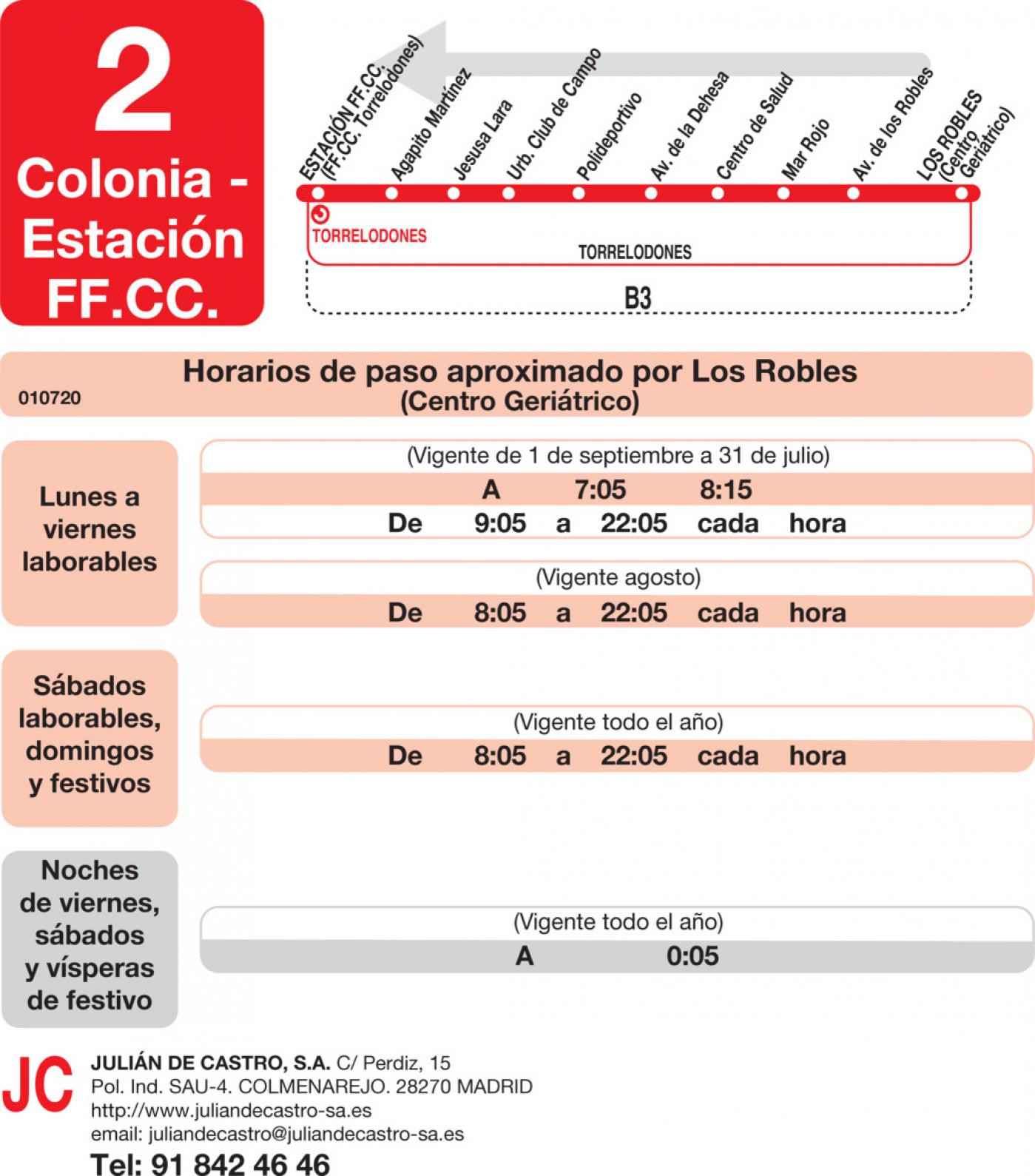 Tabla de horarios y frecuencias de paso en sentido vuelta Línea L-2 Torrelodones: Estación Cercanías RENFE - Colonia - Pueblo - Los Robles