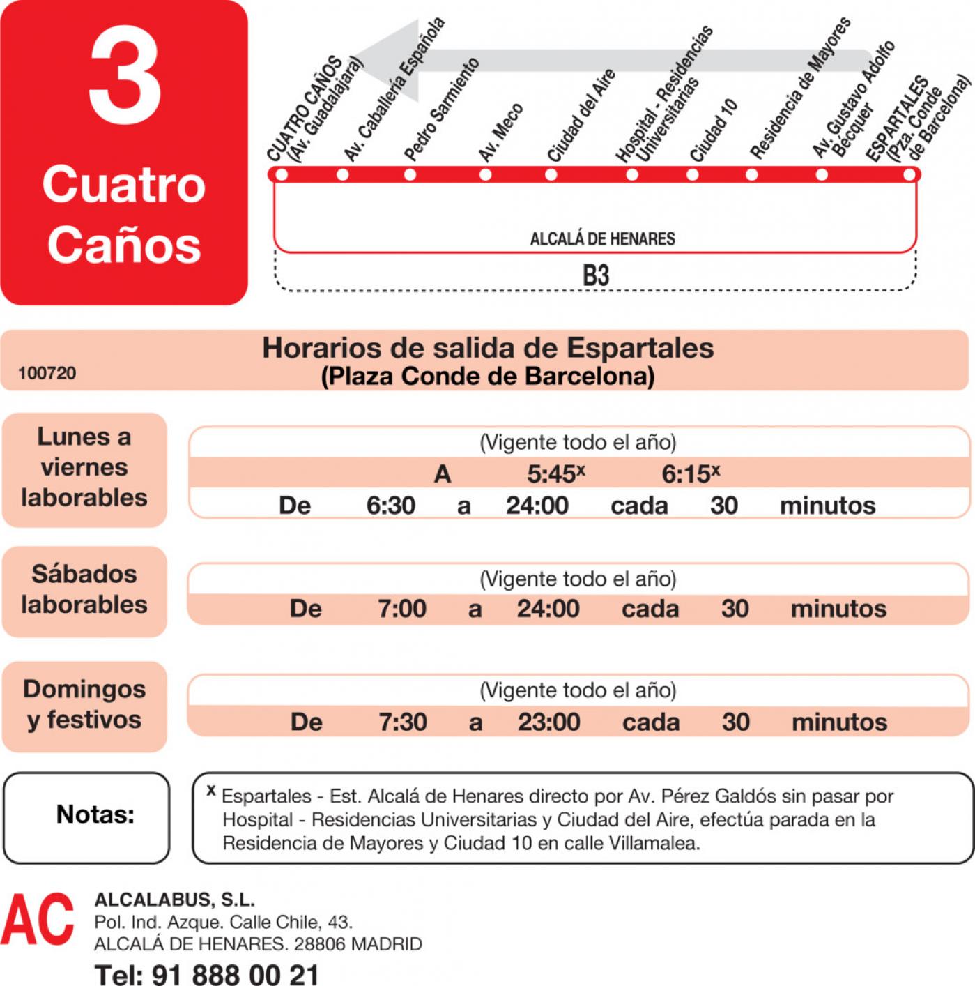 Tabla de horarios y frecuencias de paso en sentido vuelta Línea L-3 Alcalá de Henares: Plaza Cervantes - Espartales