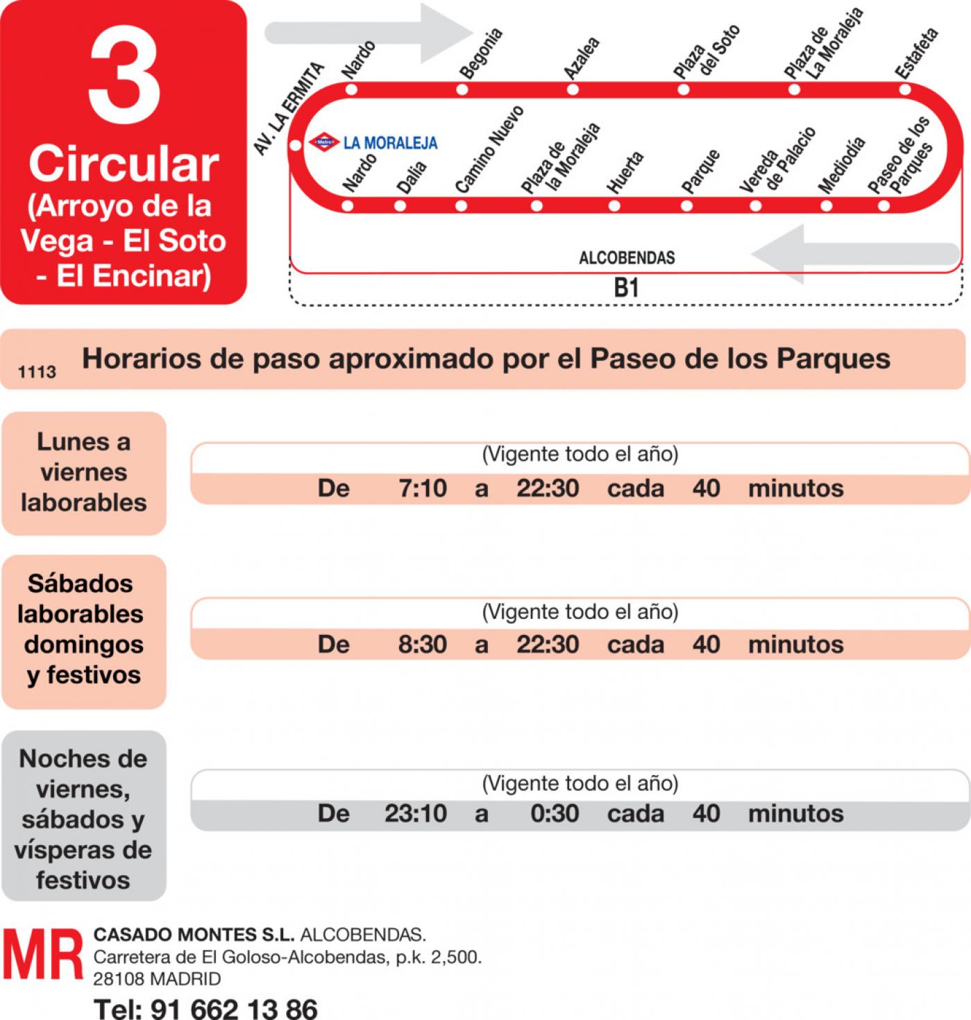 Tabla de horarios y frecuencias de paso en sentido vuelta Línea L-3 Alcobendas: Arroyo de la Vega - Soto de la Moraleja - El Encinar de los Reyes