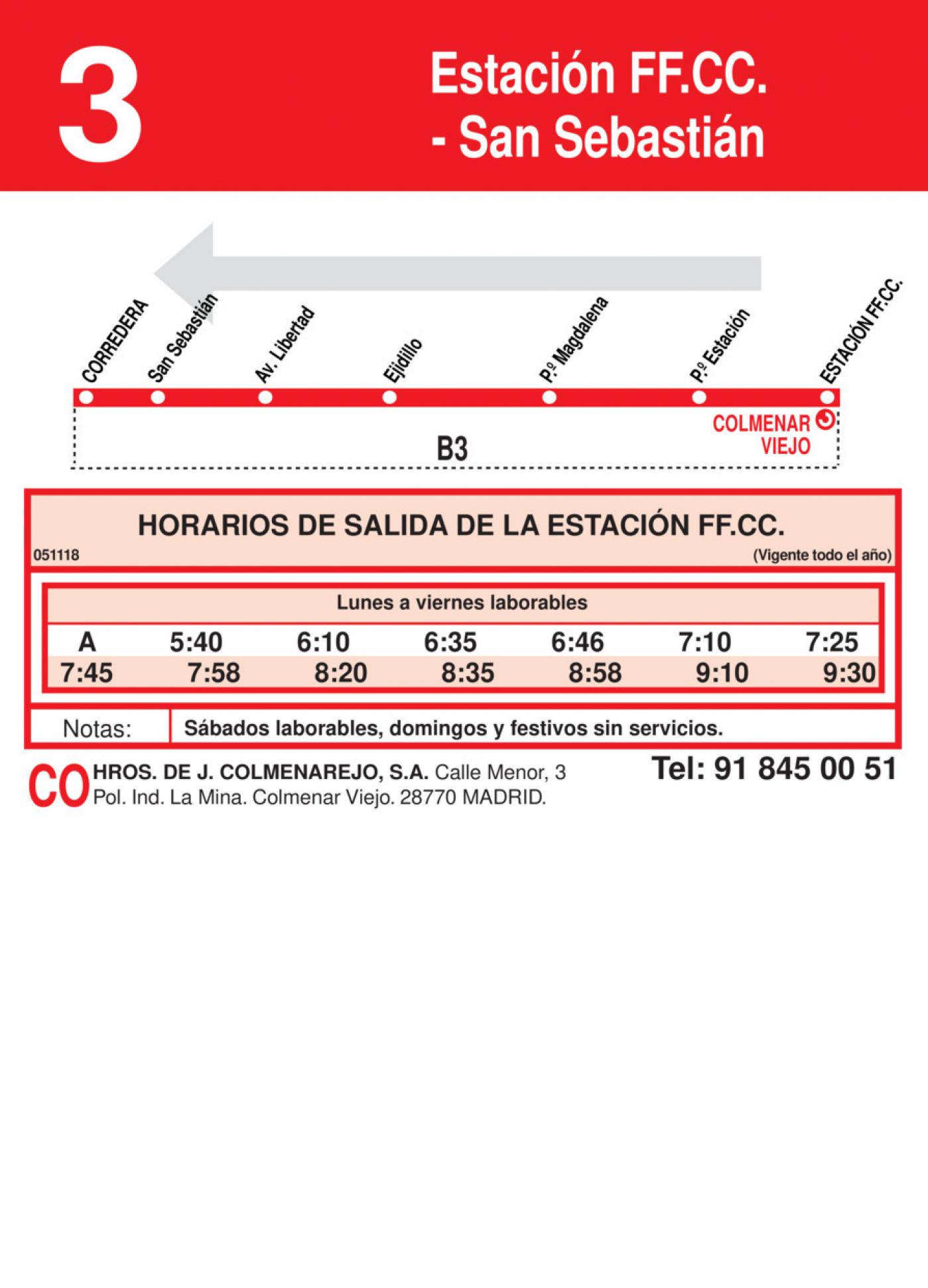 Tabla de horarios y frecuencias de paso en sentido vuelta Línea L-3 Colmenar Viejo: San Sebastián - Estación Cercanías RENFE