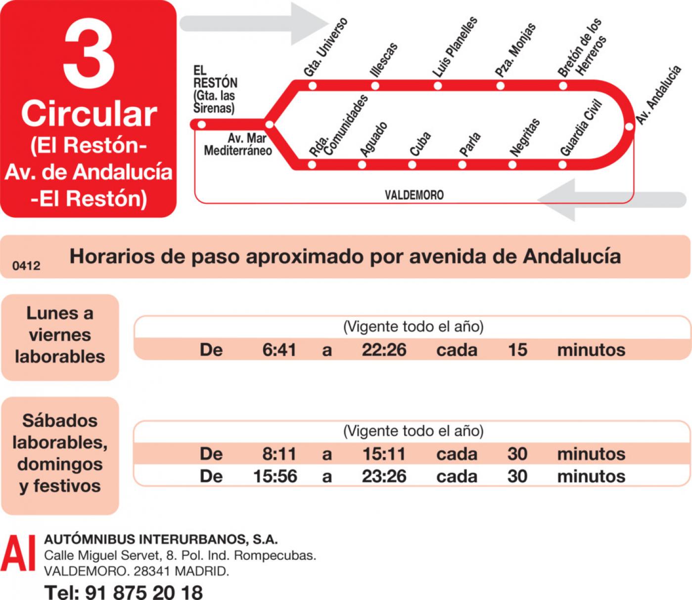 Tabla de horarios y frecuencias de paso en sentido vuelta Línea L-3 Valdemoro: Circular - Avenida de Andalucía - El Restón