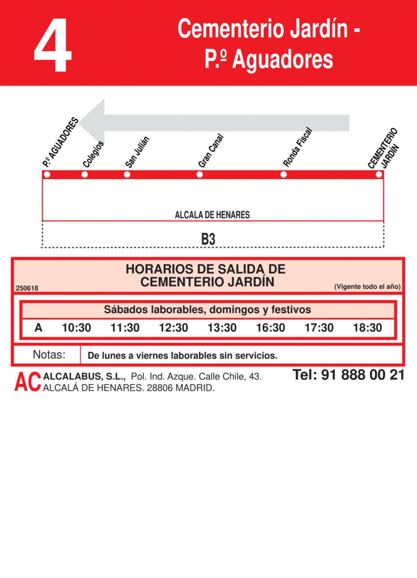 Tabla de horarios y frecuencias de paso en sentido vuelta Línea L-4 Alcalá de Henares: Plaza Cervantes - Cementerio Jardín