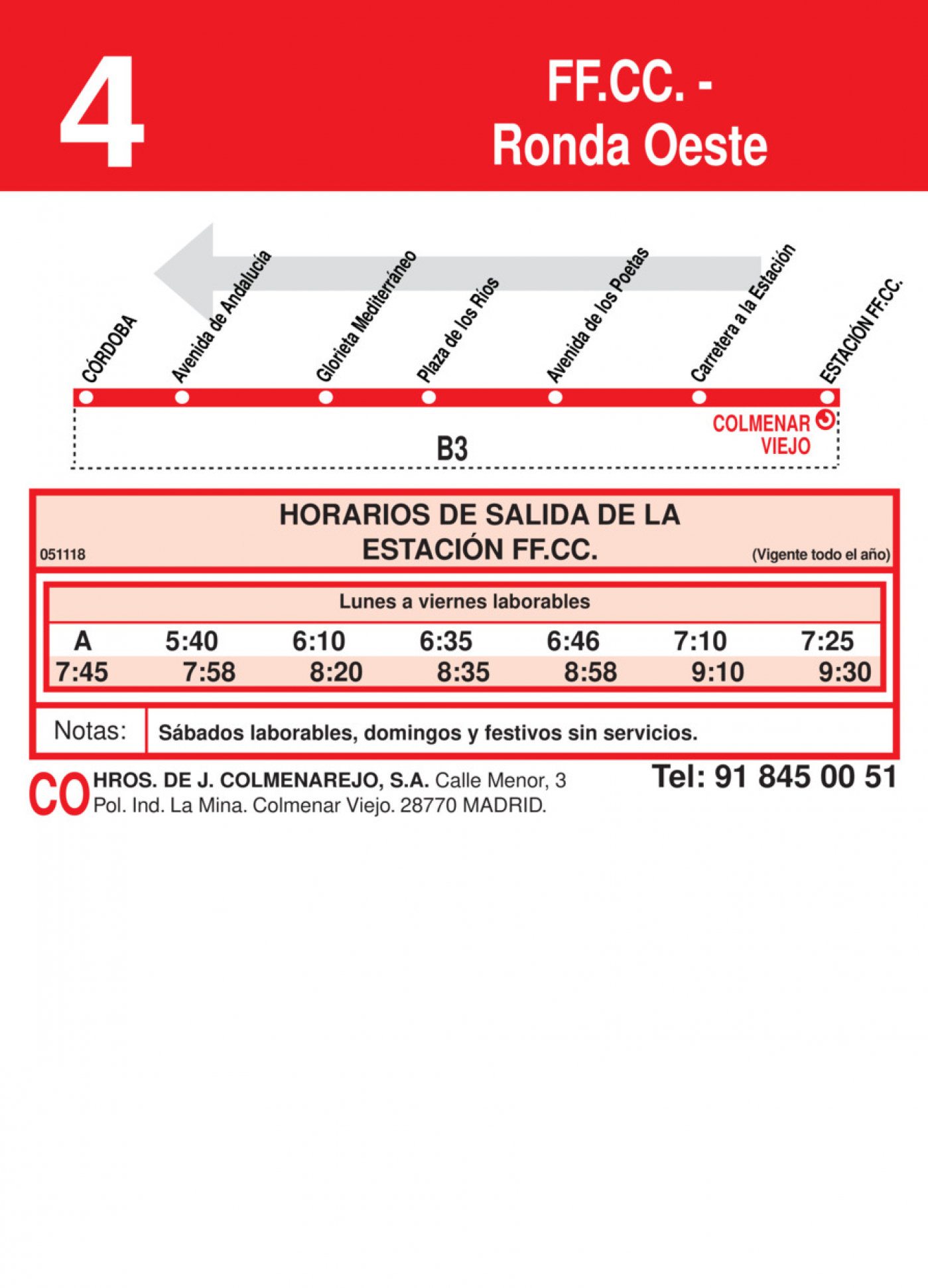 Tabla de horarios y frecuencias de paso en sentido vuelta Línea L-4 Colmenar Viejo: Ronda Oeste - Estación Cercanías RENFE