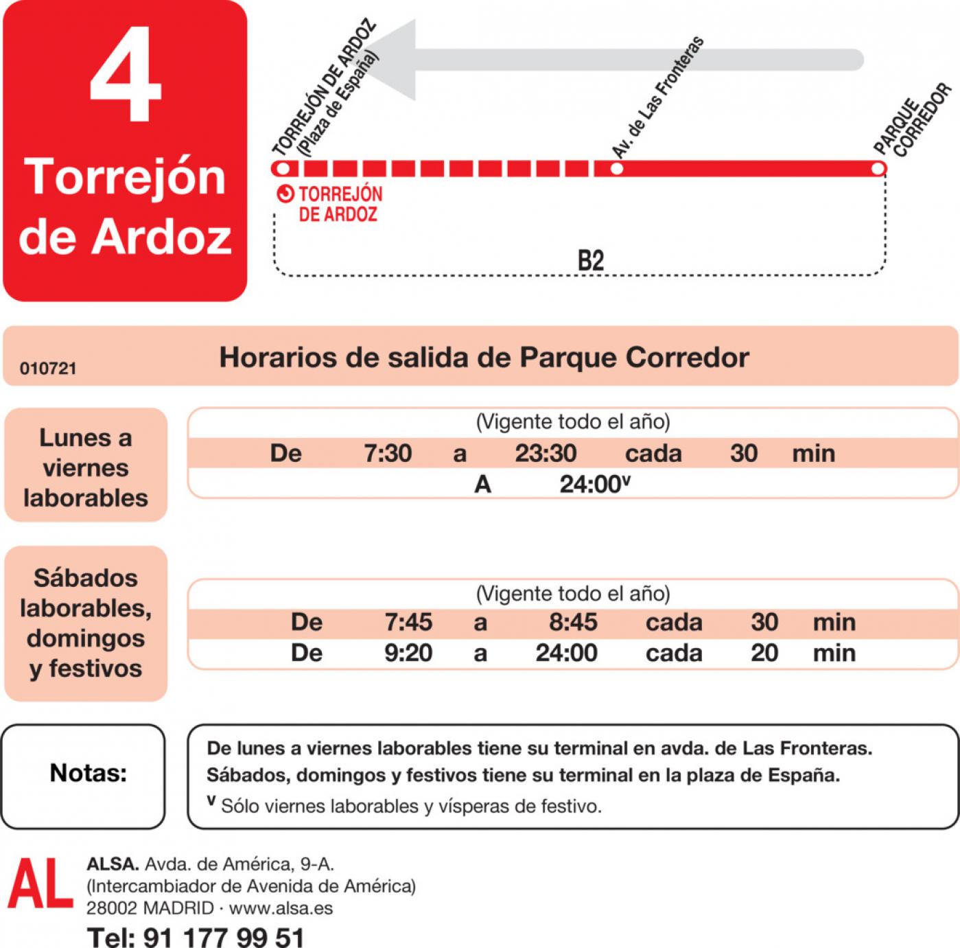 Tabla de horarios y frecuencias de paso en sentido vuelta Línea L-4 Torrejón de Ardoz: Torrejón - Parque Corredor
