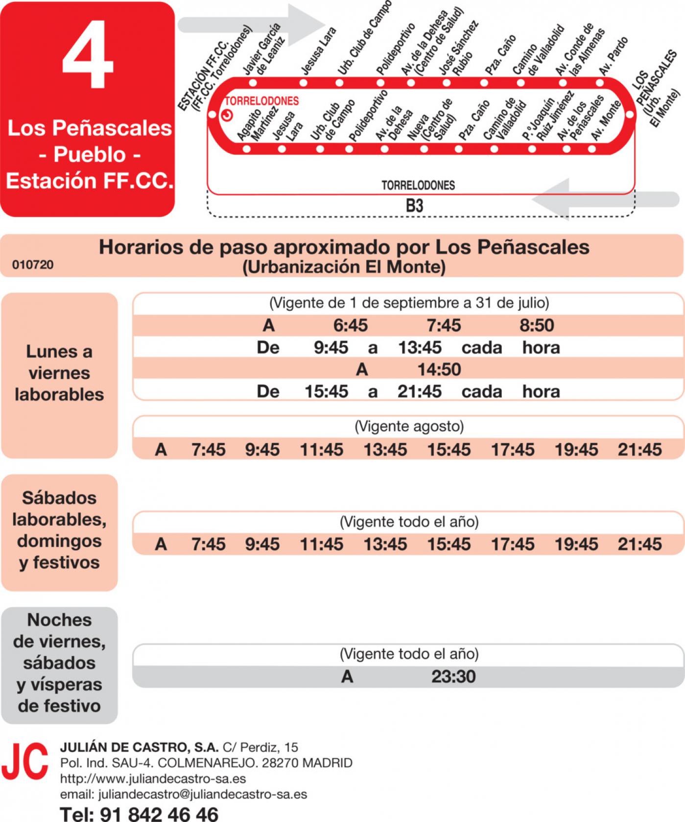 Tabla de horarios y frecuencias de paso en sentido vuelta Línea L-4 Torrelodones: Estación Cercanías RENFE - Colonia - Pueblo - Los Peñascales
