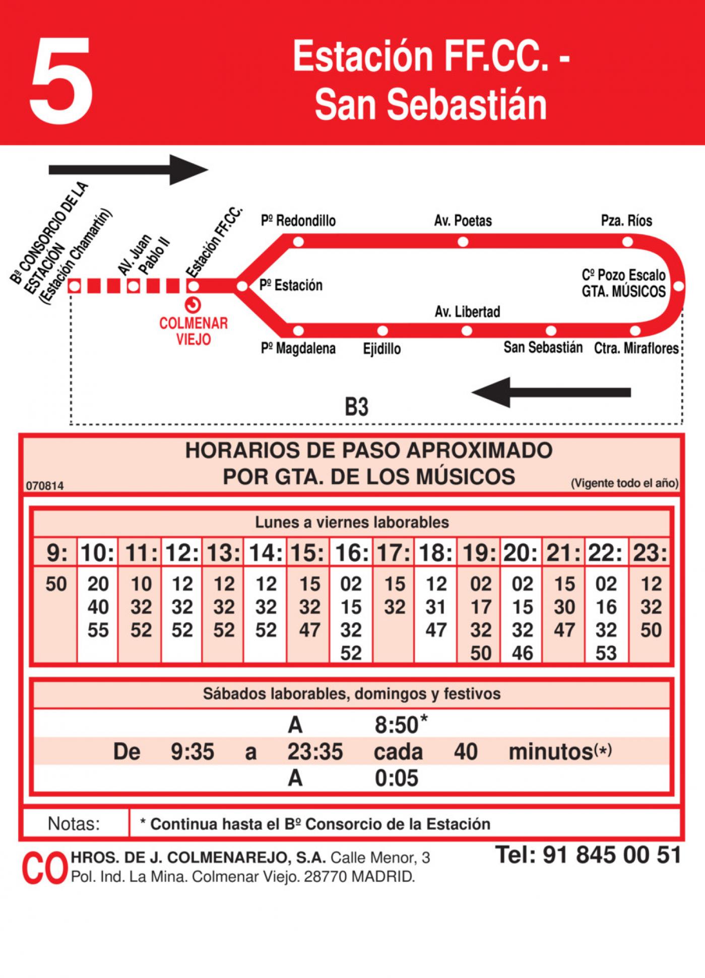 Tabla de horarios y frecuencias de paso en sentido vuelta Línea L-5 Colmenar Viejo: Estación Cercanías RENFE - San Sebastián