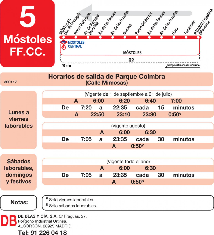 Tabla de horarios y frecuencias de paso en sentido vuelta Línea L-5 Móstoles: Estación Cercanías RENFE - Parque Coimbra