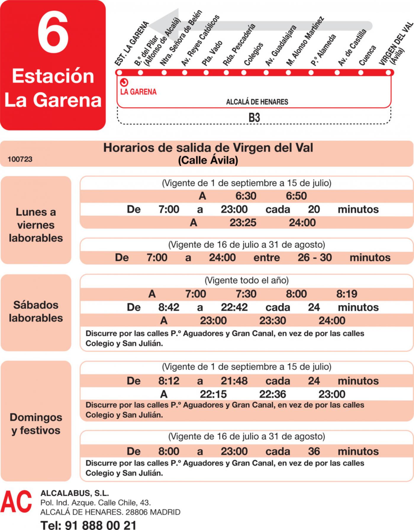 Tabla de horarios y frecuencias de paso en sentido vuelta Línea L-6 Alcalá de Henares: Barrio del Pilar - Barrio Virgen del Val