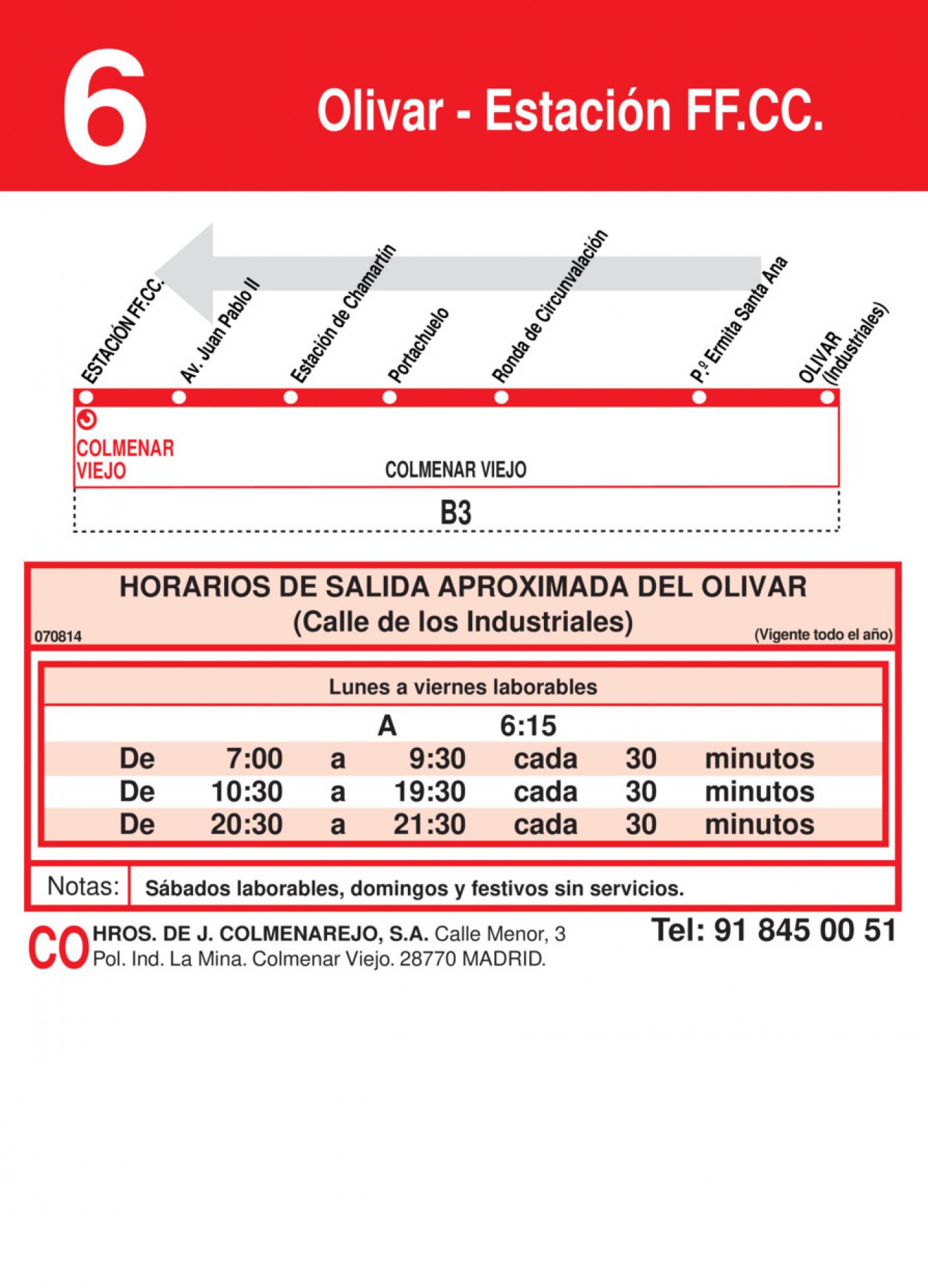 Tabla de horarios y frecuencias de paso en sentido vuelta Línea L-6 Colmenar Viejo: Estación Cercanías RENFE - Olivar