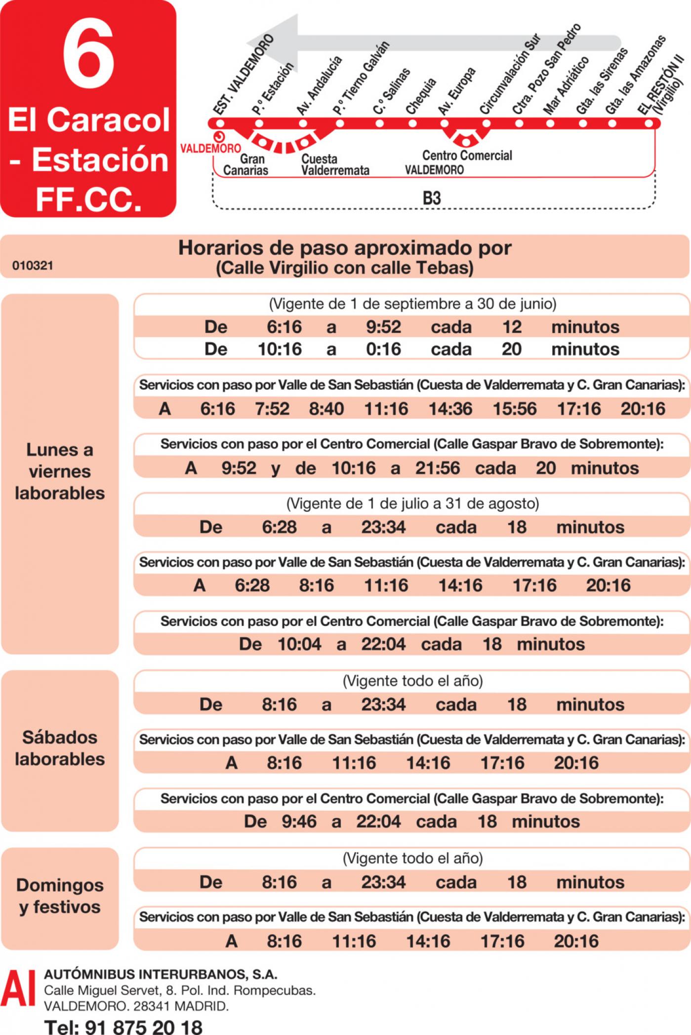 Tabla de horarios y frecuencias de paso en sentido vuelta Línea L-6 Valdemoro: Estación Cercanías RENFE - El Caracol - El Restón II