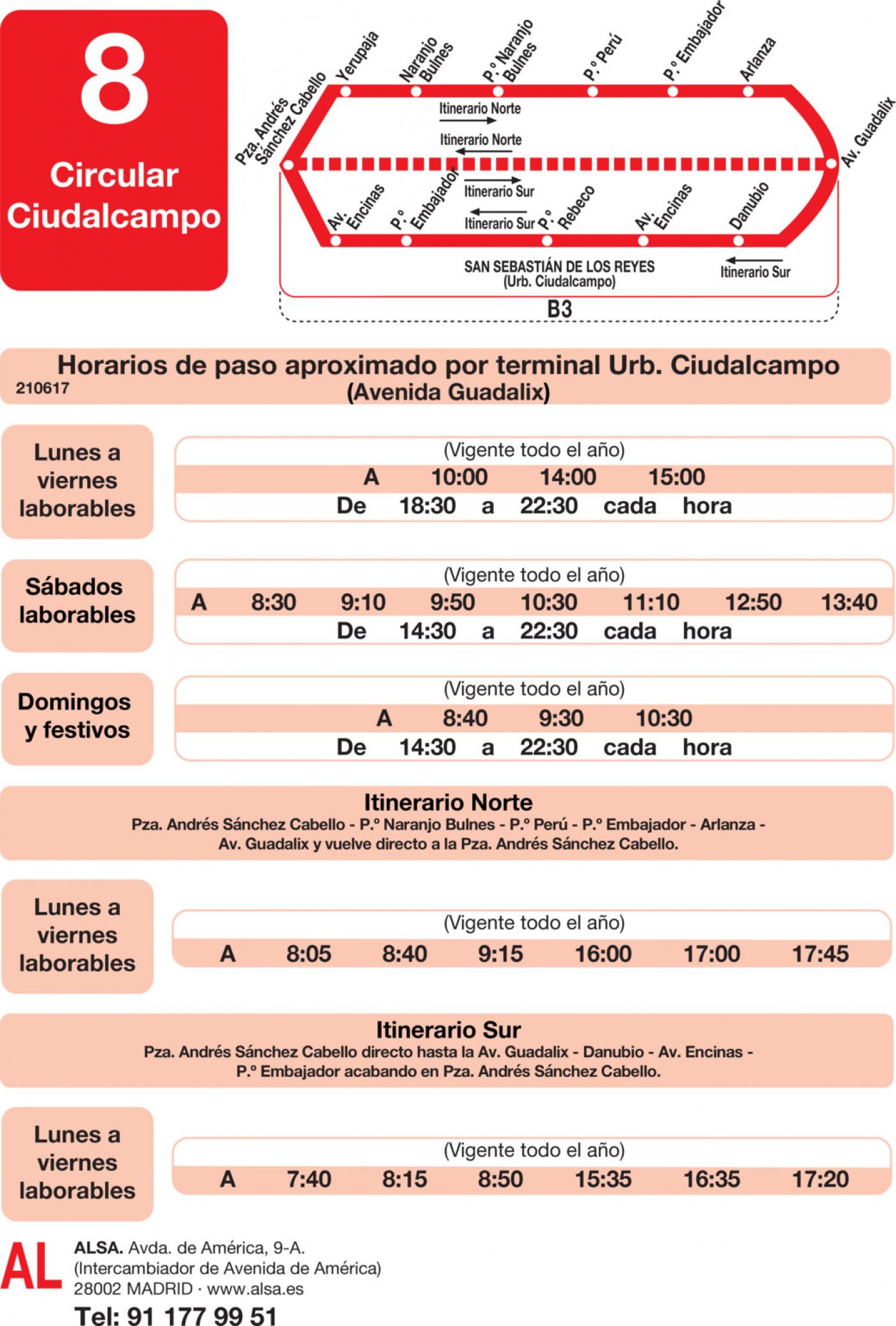 Tabla de horarios y frecuencias de paso en sentido vuelta Línea L-8 Ciudalcampo: Circular Ciudalcampo