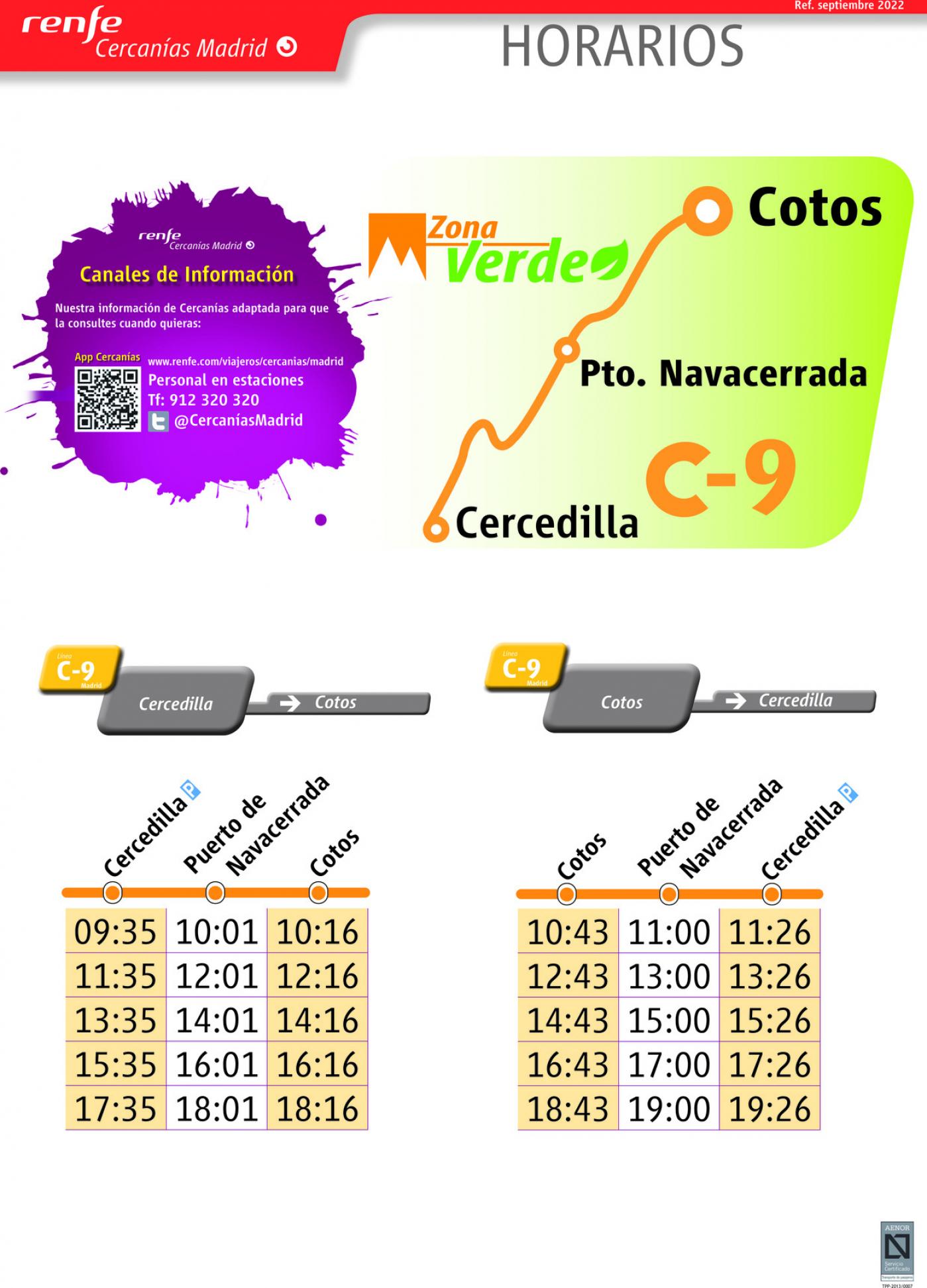 Tabla de horarios y frecuencias de paso en sentido ida Línea C-9: Cercedilla - Cotos