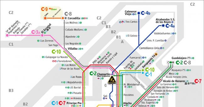 Plano de RENFE Cercanías Madrid
