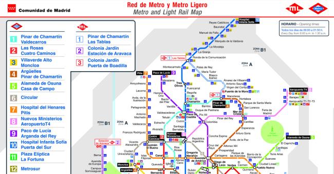 Plano de Metro de Madrid 2017