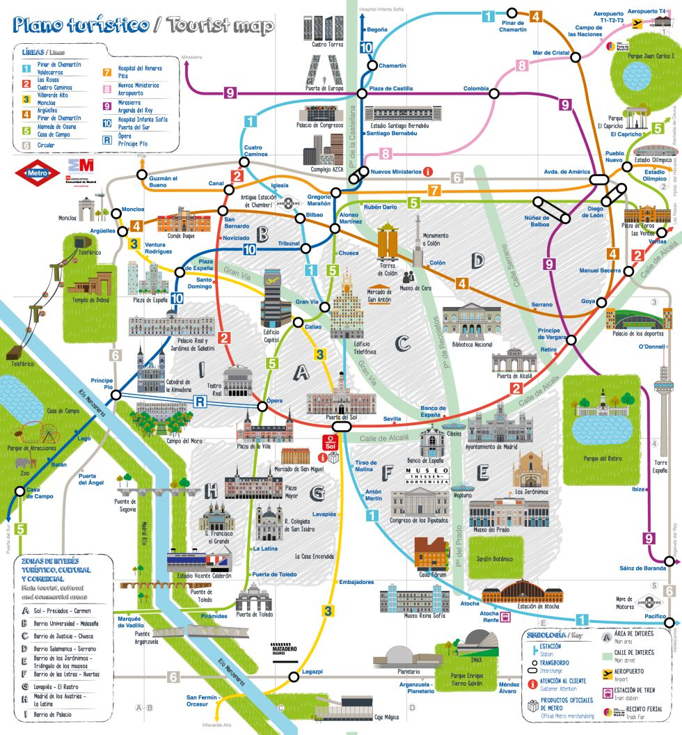Madrid tourist map – Barcelona Tourist Attractions Map