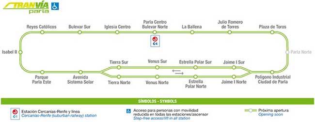 Plano del Tranvía de Parla