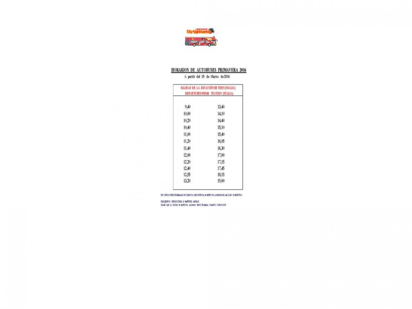Tabla de horarios y frecuencias de paso Línea 92: Bus Turístico