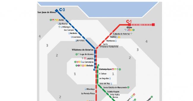 Plano de RENFE Cercanías Asturias