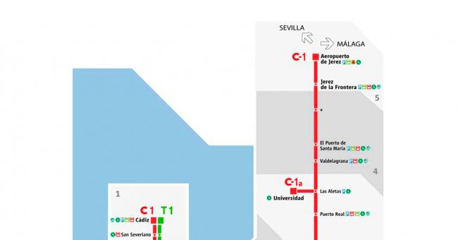 Plano de RENFE Cercanías Cádiz