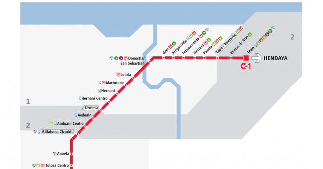 Plano de RENFE Cercanías San Sebastián
